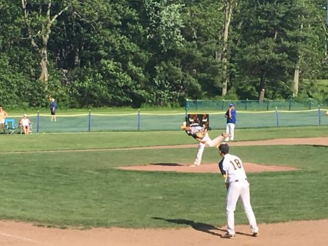 Jonathan Morrison pitching against Turners Falls on 5/19. Winning 9-2, Hopkins gains a spot in tournament.