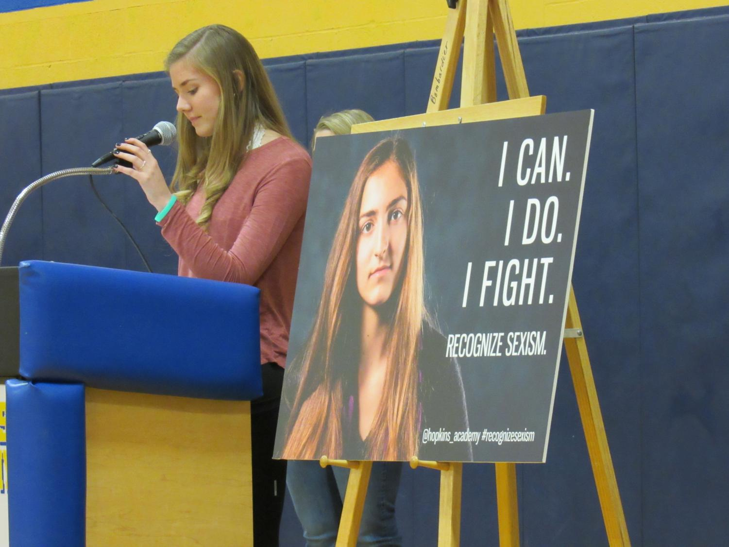 Peer Mentor co-leader,  Margaret Michalak, speaks at the #recognizesexism unveiling